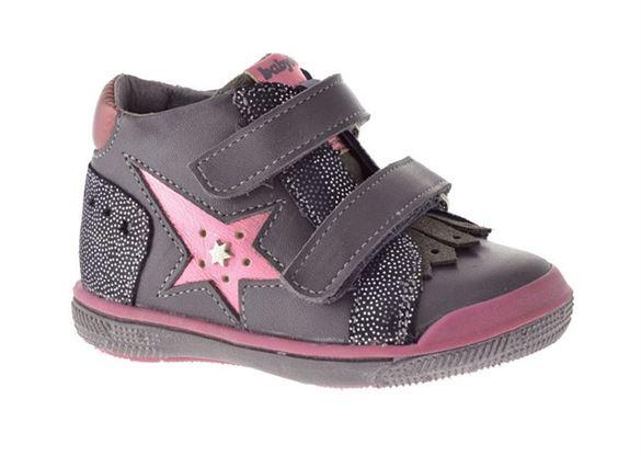 Image of   BabyBotte Avenir pigesko med velcro, grå/pink