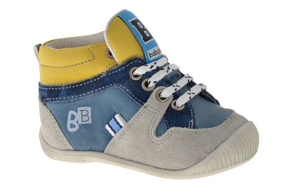 Image of   BabyBotte Fun drengesko, snøresko, jeans/gul