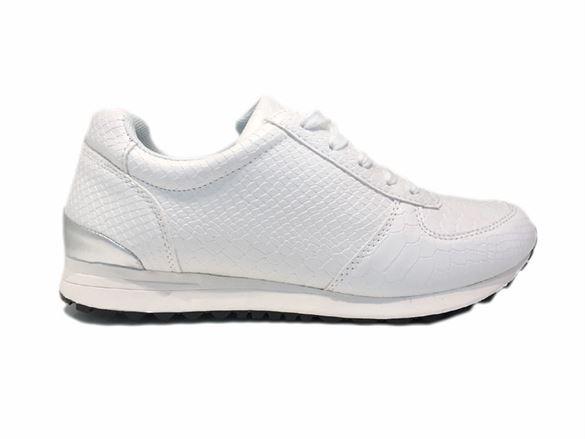 Duffy hvide sneakers med slangeskinds struktur