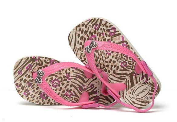 Havaianas Baby Chic, sand/pink klip-klap (flip-flop) med elastikrem