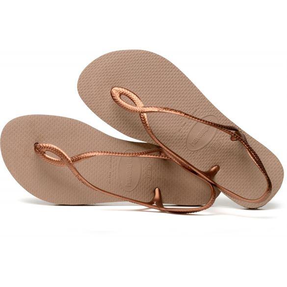 Havaianas Luna, mørk sand m/rosa-guld, klip-klap sandal