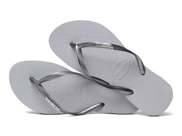 Image of   Havaianas Slim Logo Metallic grå/sølv, klip-klap (flip-flop)