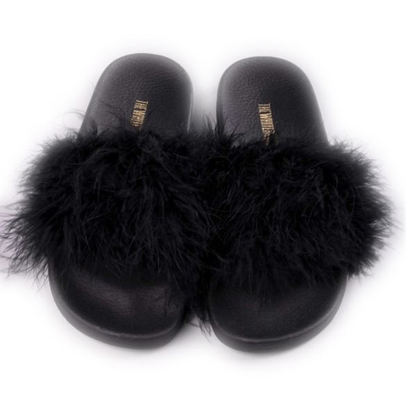 The White Brand - Feathers, slippers m/sorte fjer