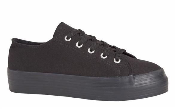 Duffy kanvas sko med snørebånd, sort