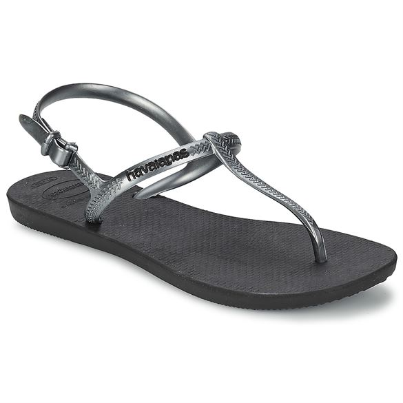 Image of   Havaianas Freedom, sort m/dark sølv remme, klip-klap sandal