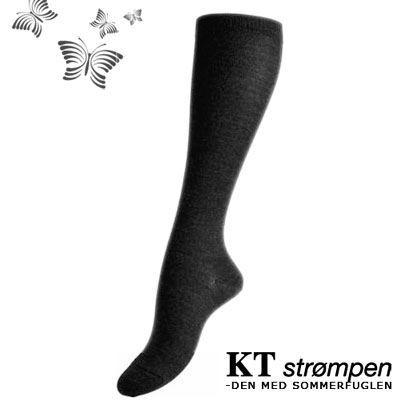Uld knæ-strømper, koksgrå (35-38) - velegnet til membran-støvler