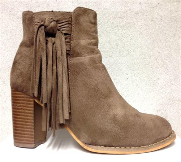 Zento støvler med frynser, sandfarvet